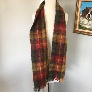 VINTAGE Irish Mohair Plaid Wool Scarf